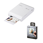 Canon SELPHY Square QX10 Compact Photo Printer (White) with XS-20L