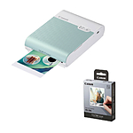 Canon SELPHY Square QX10 Compact Photo Printer (Green) with XS-20L