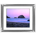 10x8 Custom Silver Metal Frame, White Mat with Glass