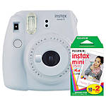 Fujifilm Instax Mini 9 Smokey White Camera with Mini Film Twin Pack