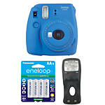 Fujifilm Instax Mini 9 Cobalt Blue Camera with Batteries  and  Battery Charger