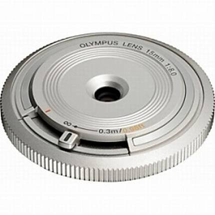 Olympus Body Cap Lens 15mm f/8 Wide Angle Lens for Micro 4/3 System - Silver