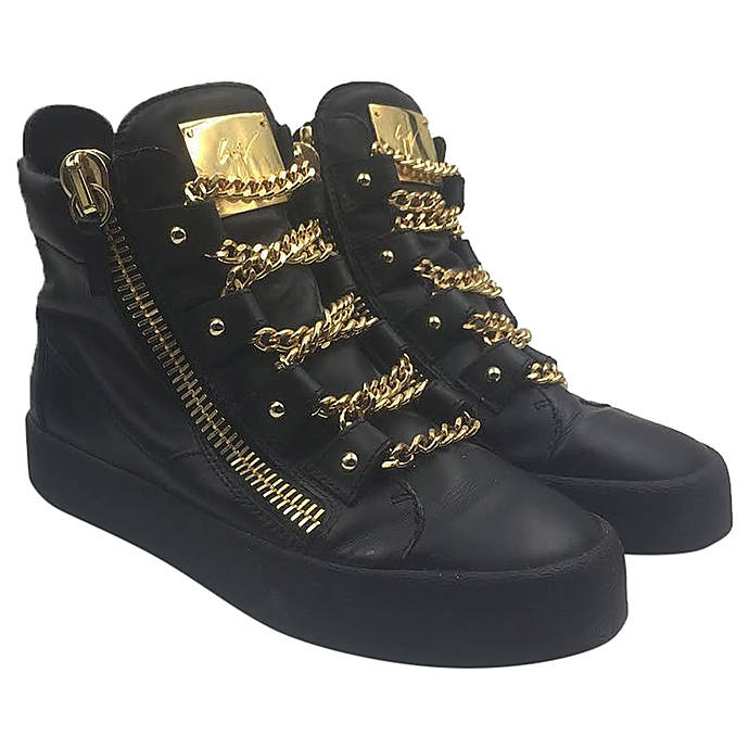 bab1750d63c18 Giuseppe Zanotti Royce Gold Multi-Chain Sneakers Size 40 1/2 | Used &  Trades | Giuseppe at Unique Photo