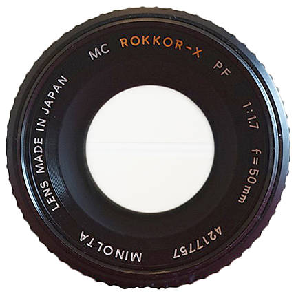 Used Minolta 50mm f/1.7 Rokkor PF MC * NO REAR CAP - Good